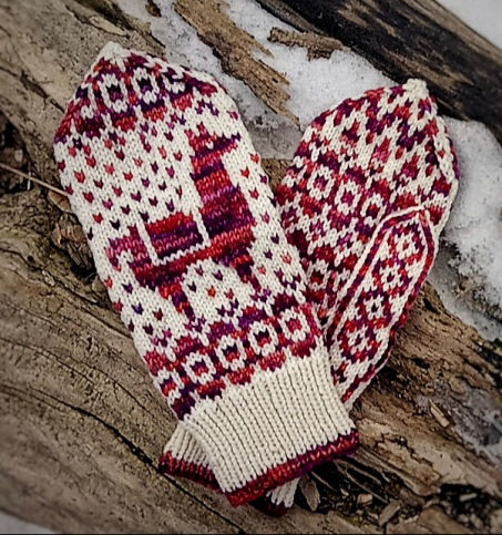 Lallama Mittens, fun color-work + hand dyes!